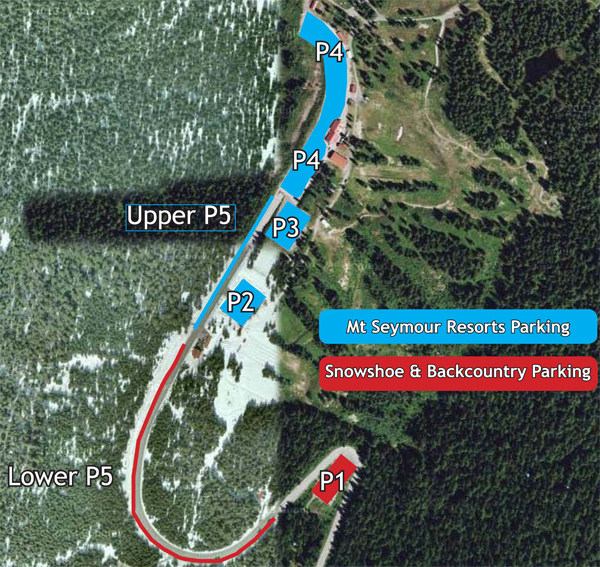 Map of winter parking designations at Mt Seymour