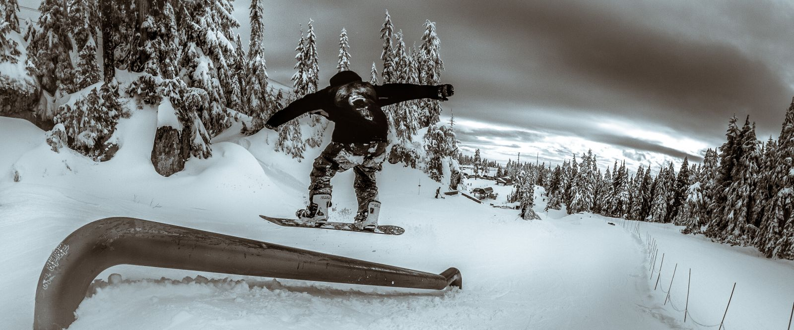 Snowboarder in the Rockstar Pit at Mt Seymour in Vancouver