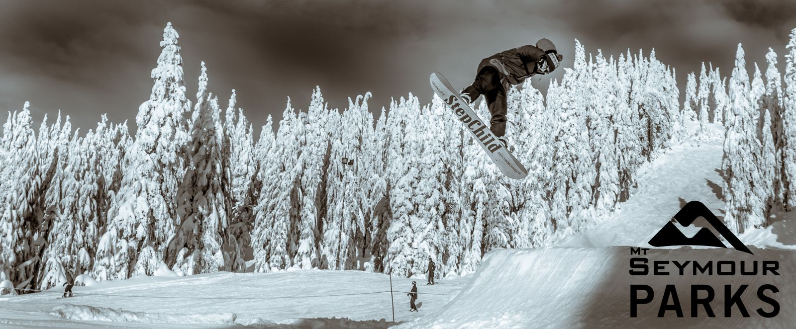 Snowboarder in Northlands Terrain Park at Mt Seymour in Vancouver