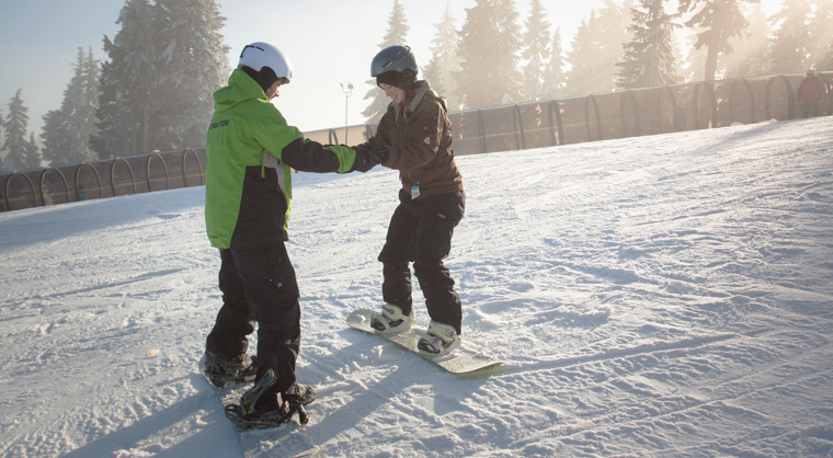 Snowboard lesson at Mt Seymour in Vancouver