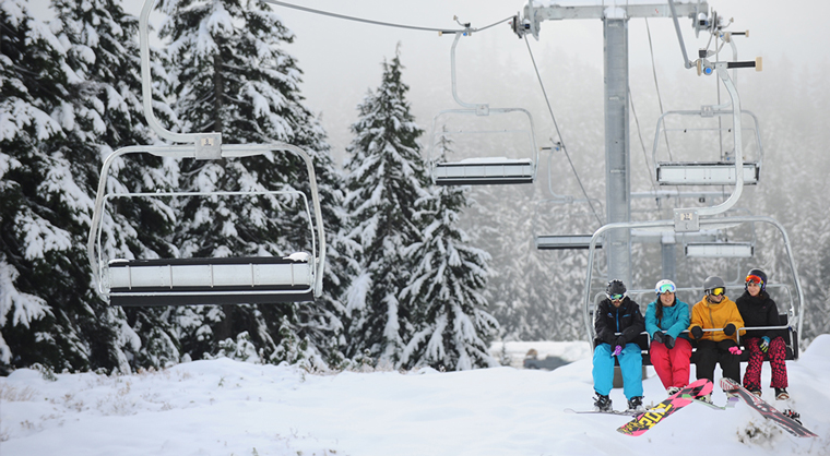 Skiers and snowboarders at Mt Seymour in Vancouver