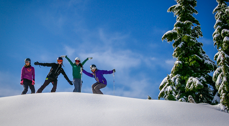 Girls skiing and snowboarding at Mt Seymour in Vancouver