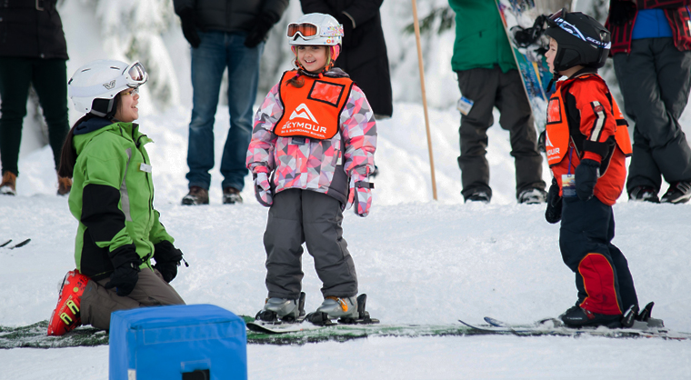 Children learning to ski at Mt Seymour in Vancouver