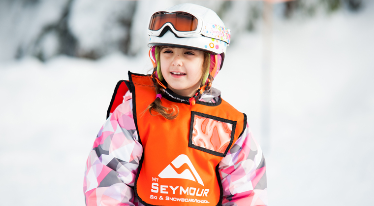 Child learning to ski at Mt Seymour in Vancouver